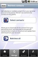Screenshot of Zootta contacts