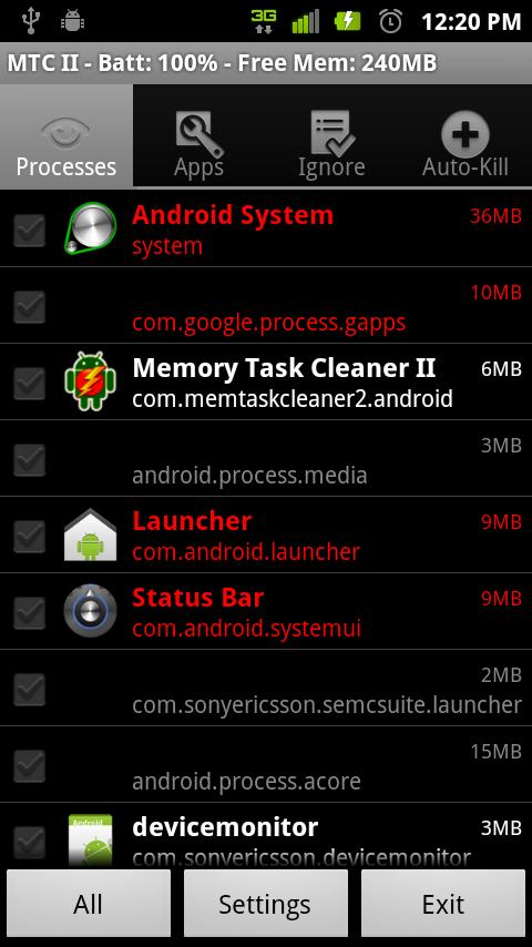 Memory Task Cleaner II- screenshot