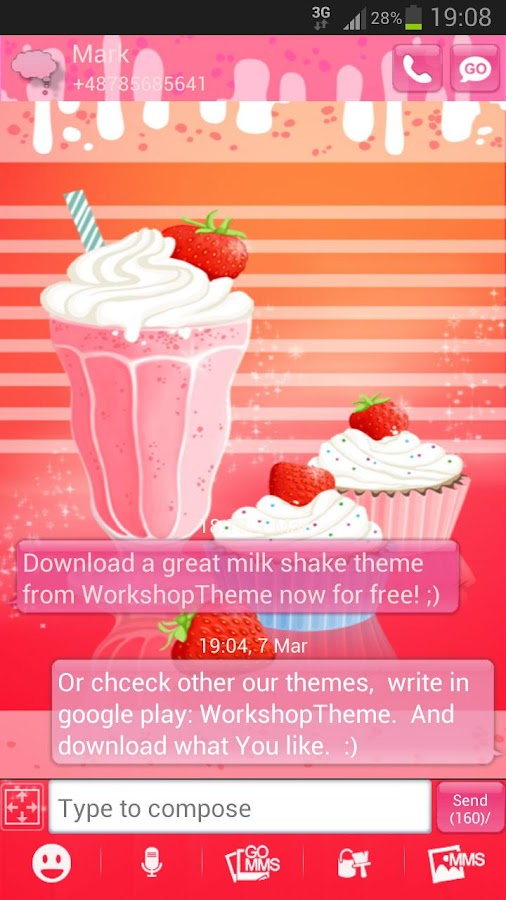 GO SMS Pro Theme Muffin Shake - screenshot