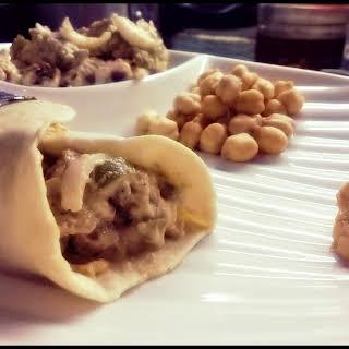 Chicken Shawarma Wrap, Salad and Hummus.