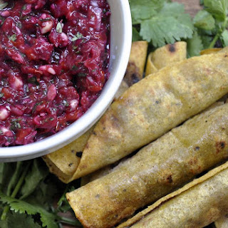 Refried Black Bean Taquitos with Roasted Cherry Salsa