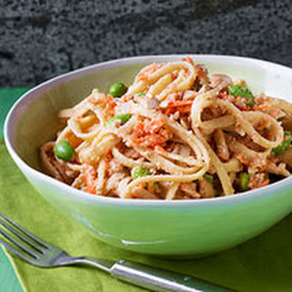 Nutty Asian Noodles with Carrots & Edamame.
