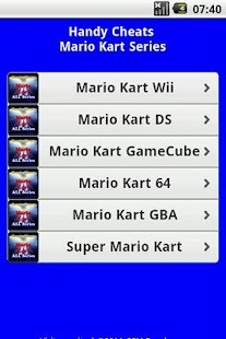 Mario Kart All Series Cheats Free Android App Market