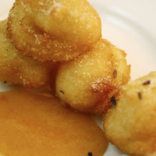 Beignets with Lavender Sugar and Apricot Sauce.