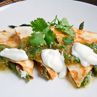 Roast Asparagus and Caramelized Mushroom Quesadillas with Goat Cheese.