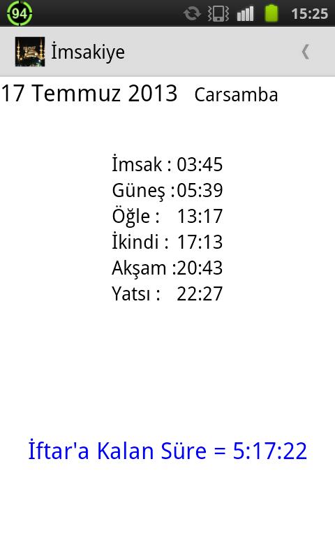 İmsakiye 2015 - screenshot