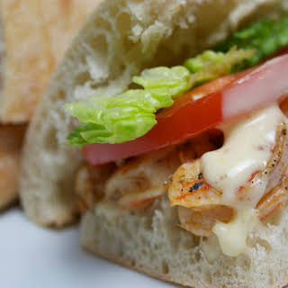 Grilled Shrimp Po'Boy with Cajun Aioli.