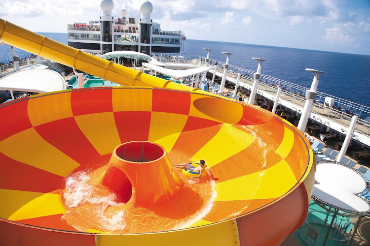 One of the highlights of Norwegian Epic's Aqua Park is the Epic Plunge, a giant bowl slide measuring 200 feet.