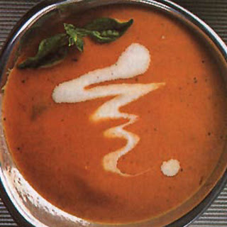 Roasted Carrot and Tomato Soup with Basil.