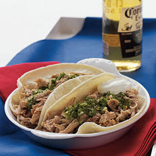 Slow-Cooker Pork Loin Carnita Tacos with Chimichurri Sauce.
