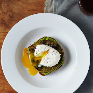 Fried Green Tomato Avocado Toast with Poached Eggs.