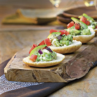 Guacamole-Goat Cheese Toasts.
