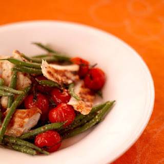 Barbecued Chicken With Warm Green Bean Salad.