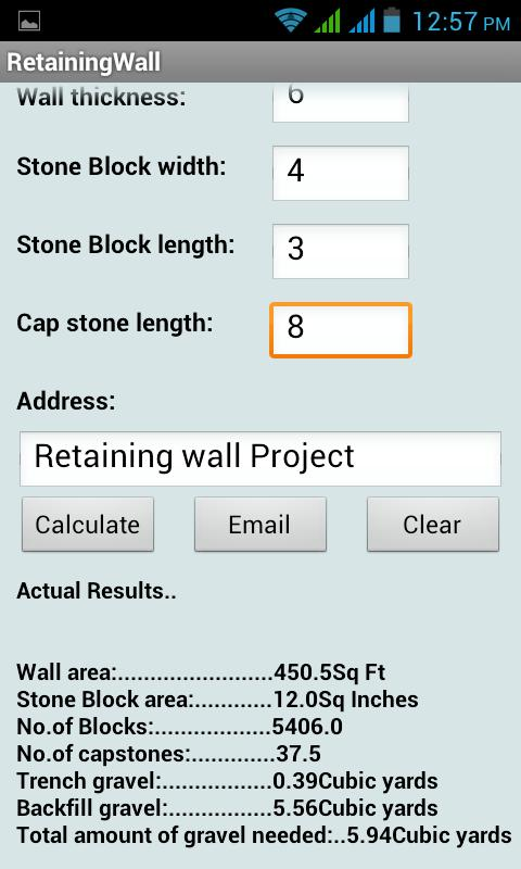 Retaining wall calculator android apps on google play for Soil removal calculator