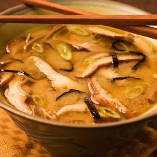 Mushroom Miso Broth with Buckwheat Noodles.