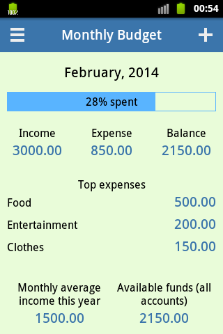 Monthly Budget - screenshot