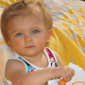 Eating Goldfish by Luanne Bullard Everden - Babies & Children Children Candids ( babies, candids, granddaughter, blue eyes, children, portraits, toddlers,  )