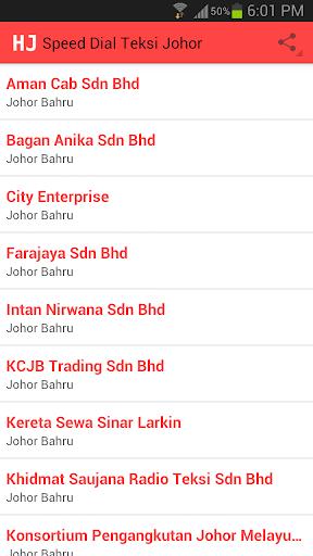 Speed Dial Teksi Johor