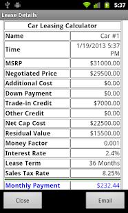 Money Factor Calculator >> Car Lease Calculator Apps On Google Play