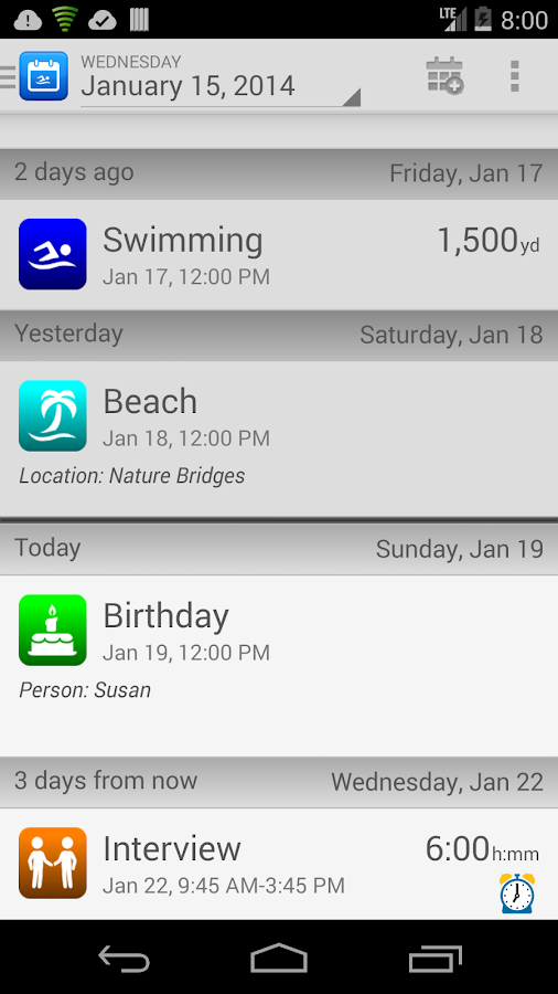 SwimWiz Fitness Log Demo - screenshot