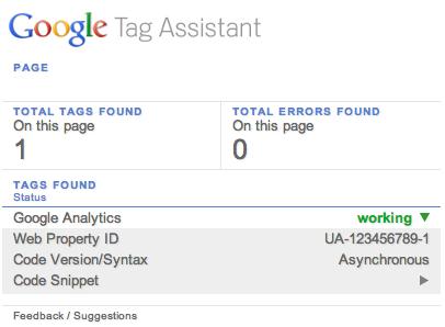 tag assistante de google