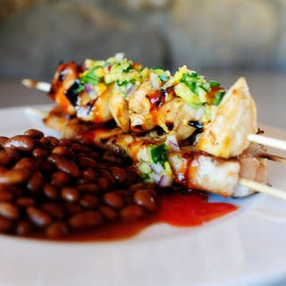 Maple Glazed Chicken Kabobs with Sweet Jalapeno Salsa.
