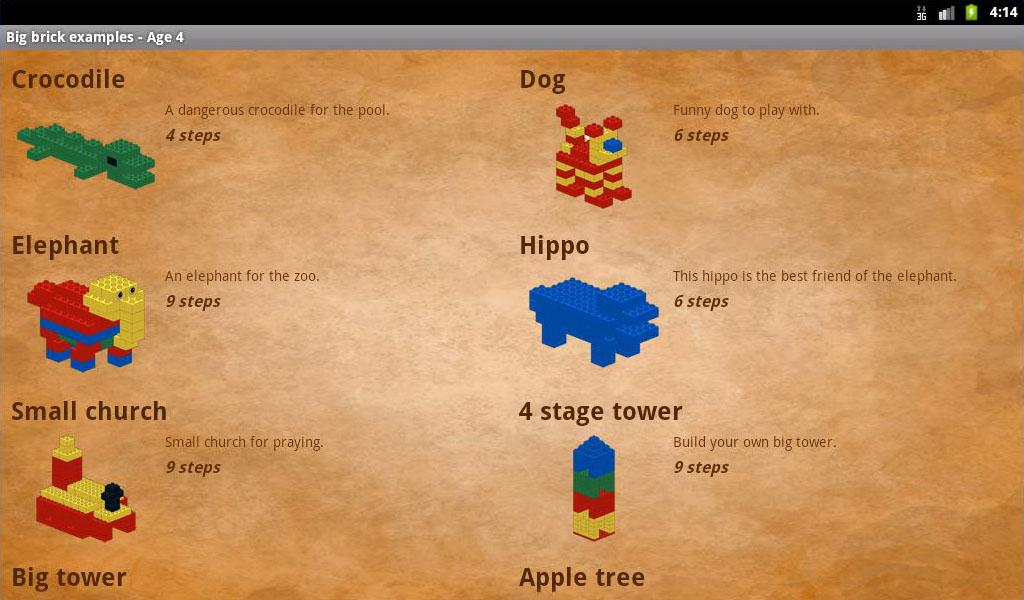Big brick examples - Age 4- screenshot