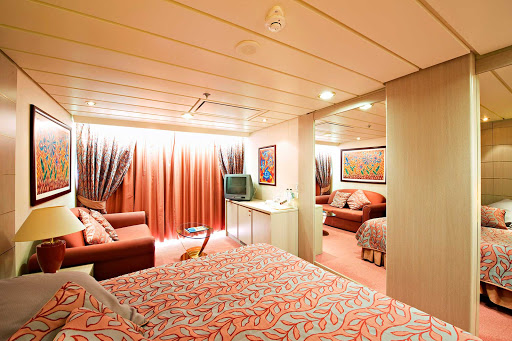 MSC-Opera-suite - Of MSC Opera's 856 cabins, 172 are balcony cabins and 28 are balcony suites that span two decks. The Aurea Suites feature spacious private balconies along with two single beds that convert to a double, a wardrobe, bathroom with tub and shower, sitting room, TV, air conditioning and mini-bar. Other suites offer panoramic windows instead of a balcony.