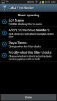 Screenshot of Block Calls, text, SMS