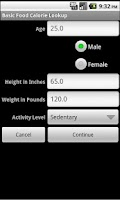 Screenshot of Basic Food Calorie Lookup