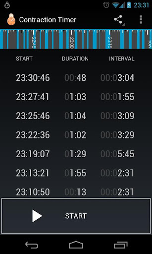 Contraction Timer Screenshot