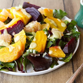 Citrus Beet Salad with Creamy Avocado Lime Dressing.