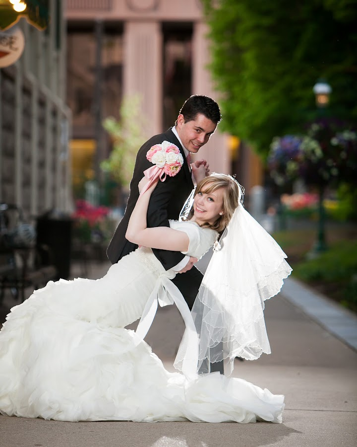 love in the alley by Holly Johnson - Wedding Bride & Groom ( formals, bride and groom, backlighting, lionhouse )