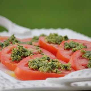Sliced Tomato Salad Recipe with Basil and Pine Nuts
