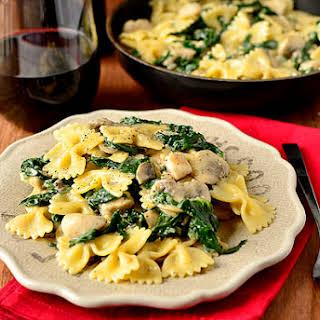 Creamy Kale & Mushroom Chicken Pasta.