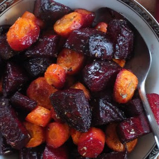 Roasted Beets and Carrots with Rosemary Garlic Butter.