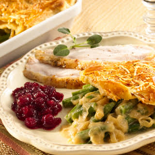 Green Bean Casserole with Caramelized Onions and Puff Pastry.