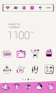 Neon Pink Drawing Dodol Theme screenshot 0