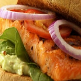 Cajun Salmon Sandwich With Goat Cheese And Lemon Mayonnaise On Ciabatta