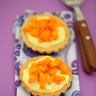 Eggless Custard Tarts With Mangoes Or Other Fruits.
