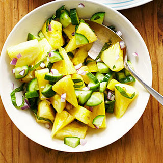 Pineapple, Cucumber, and Shiso Salad.