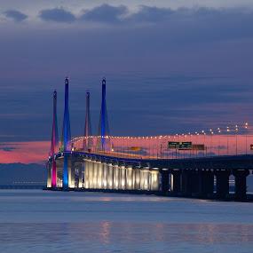 P2X by Christopher Harriot - Buildings & Architecture Bridges & Suspended Structures ( dawn, p2x, penang, sea, bridge, penang 2nd, sun )