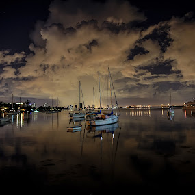 Maurice Gibb Park Miami by Jean Perrin - Landscapes Cloud Formations ( reflection, maurice gibb park, waterscape, florida, boats, miami, storm, waterfront, night shot, nightscape,  )
