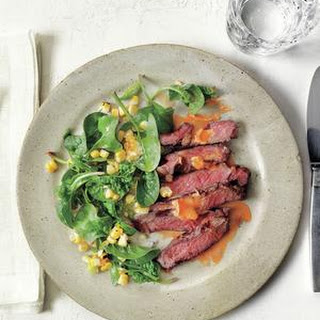Steak With Hot Sauce Butter, Corn and Spinach Salad