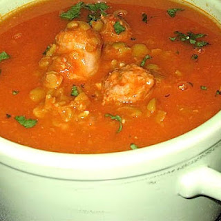 Split Pea & Tomato Soup with Sweet Sausage