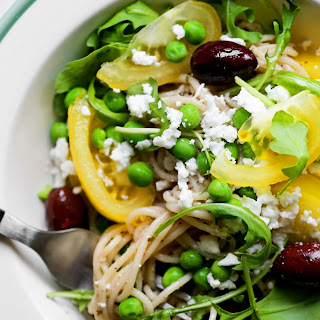 Greek Pasta with Arugula, Peas, Yellow Tomatoes & Feta