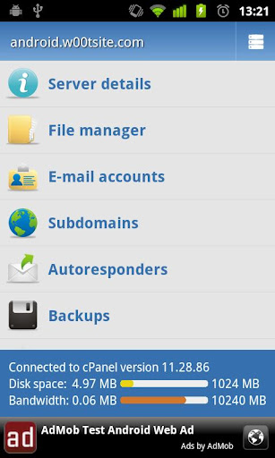 Control Panel for cPanel 1.3.2 screenshots 1