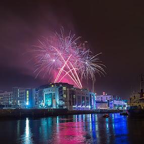 Christmas Bonanza Fireworks by Vaidotas Maneikis - City,  Street & Park  Night ( ireland, christmasbonanza, drogheda, reflections, fireworks, night, , mood factory, color, lighting, moods, colorful, light, bulbs, mood-lites )