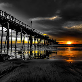 Behind the Dark Sky by Lance Emerson - Landscapes Beaches ( oceanside, black and white, sunset, ocean, beach, storm, stormy, weather,  )