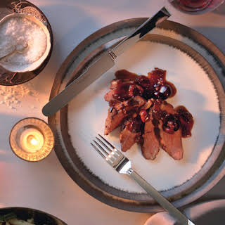 Seared Duck Breast with Cherries and Port Sauce.